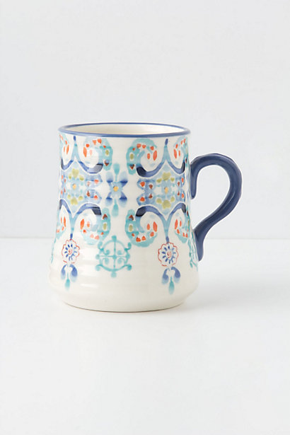 Swirled Symmetry Mug in Blue Motif. Anthropologie