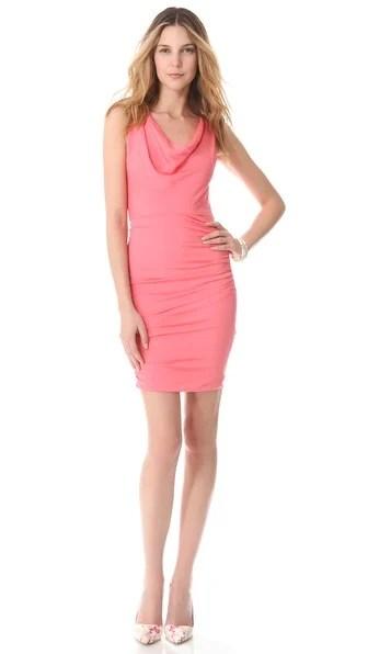 alice + olivia Esme Ruched Cowl Neckline Dress in Pink. Shopbop