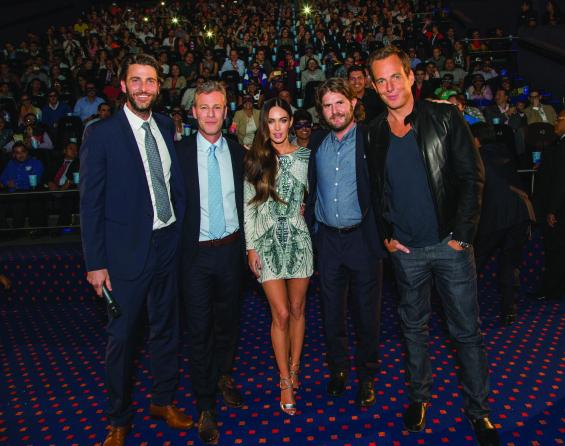"""MEXICO CITY, MEXICO - JULY 29: (L-R) Producers Andrew Form and Brad Fuller, Actress Megan Fox, Director Jonathan Liebesman and Actor Will Arnett attend the Latin American Premiere of Paramount Pictures' """"TEENAGE MUTANT NINJA TURTLES"""" at Cinepolis Acoxpa, on July 29, 2014 in Mexico City, Mexico. (Photo by Lucian Capellaro / Paramount Pictures International)"""