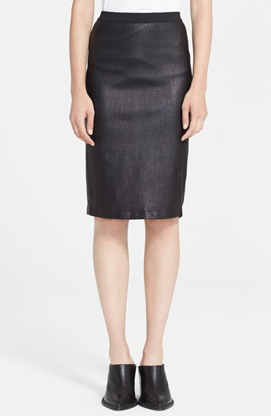 Helmut Lang Stretch Plonge Black Leather Skirt
