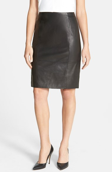 BOSS HUGO BOSS BOSS Leather Pencil Skirt in Black