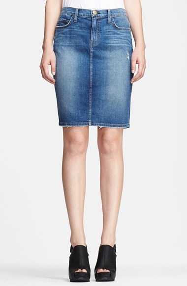 Current/Elliott'The Stiletto' Denim Pencil Skirt in Townsend Destroy
