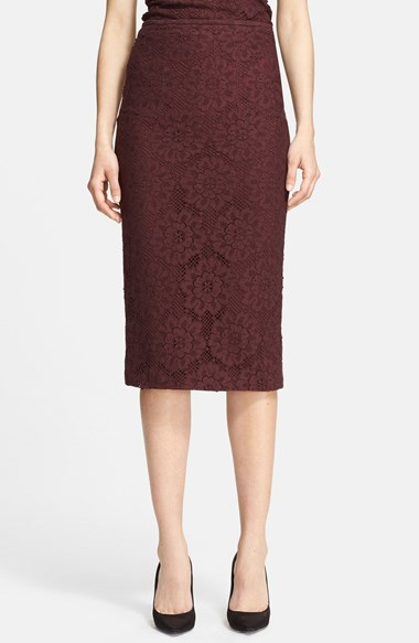Burberry London Guipure Lace Pencil Skirt in Deep Claret