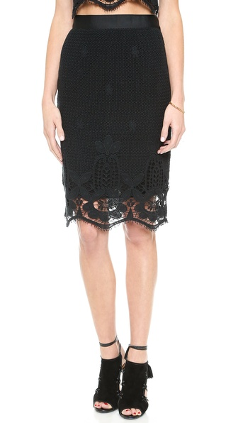Crocheted Lace Miguelina Scarlett Pencil Skirt in Black