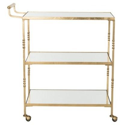 Safavieh Three Tier Cleopatra Bar Cart in Gold