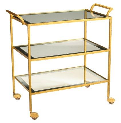 Milford Hollywood Regency Glass Gold Leaf Serving Bar Cart