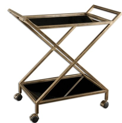 Uttermost 25013 Zafina, 32-Inch Bar Cart, Antique Gold Finish with Black Tempered Glass