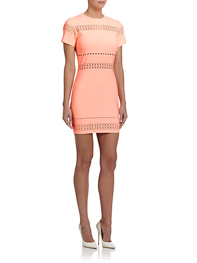 Elizabeth and James Ari Perforated Sheath Dress in Neon Peach