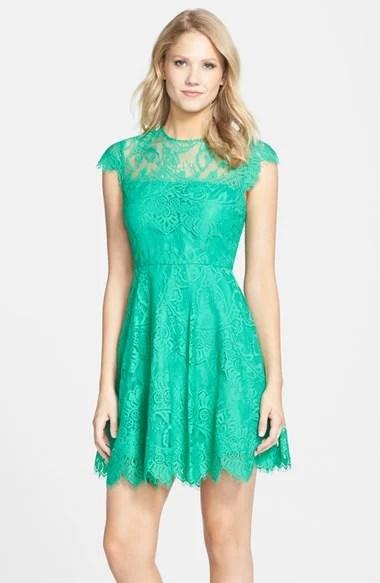 BB Dakota 'Rhianna' Illusion Yoke Lace Fit & Flare Dress in Jade