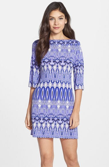 Donna Morgan Mediterranean Inspired Print Jersey Shift Dress in Wisteria Multi