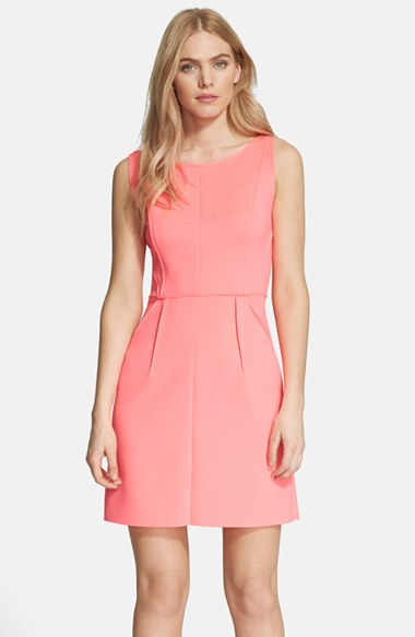 Milly Seamed Shift Dress in Fluo Candy