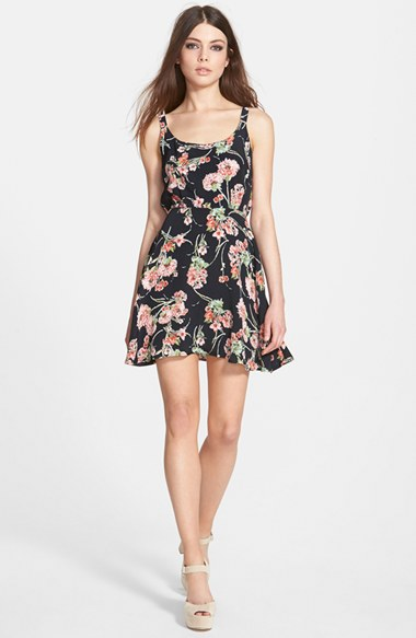 Band of Gypsies Floral Fit & Flare Dress in Black and Pink