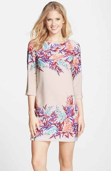 Darling 'Isla' Print Shift Dress in Cream/Pink
