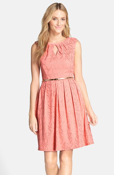 Ellen Tracy 'Gilded' Belted Knit Fit and Flare Dress in Coral