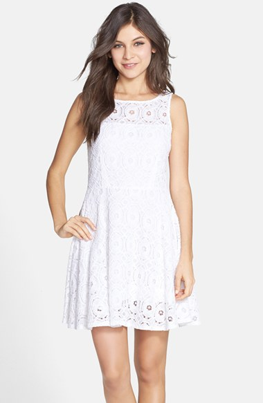 BB Dakota 'Renley' Lace Fit & Flare Dress (Nordstrom Exclusive) in Optic White