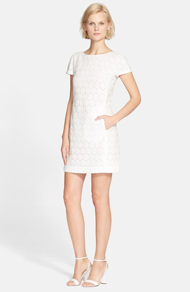 Theory 'Jamelya' Eyelet Shift Dress in White