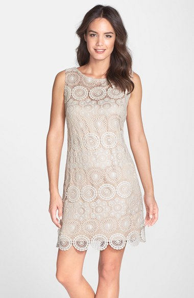 Eliza J Crochet Sleeveless Shift Dress (Regular & Petite) in Ivory
