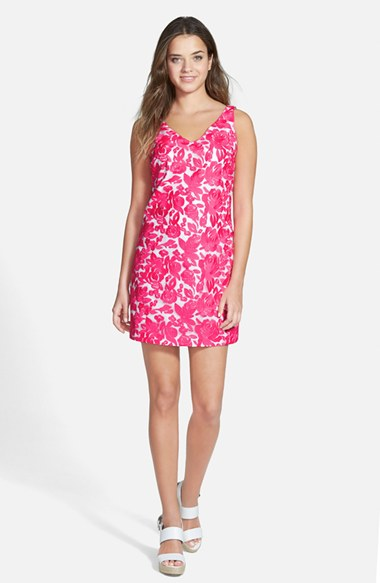Vineyard Vines Embroidered Silk Shift Dress in Lipstick