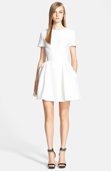 Alexander McQueen Textured Fit & Flare Dress in Optic White