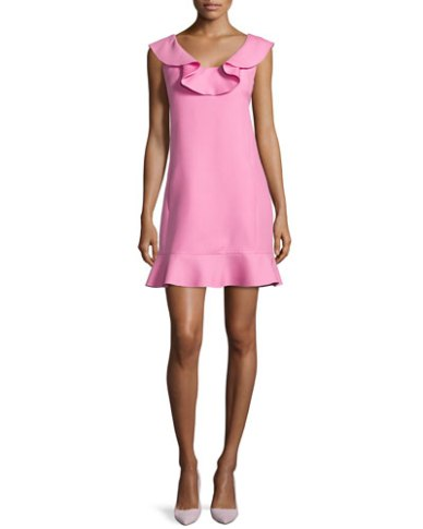 Valentino Ruffled Scoop-Neck Dress in Pink
