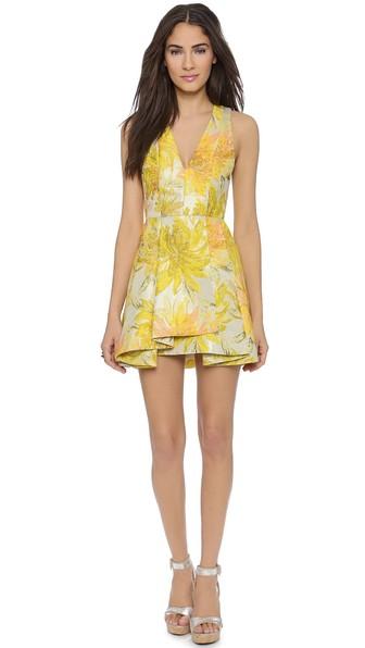 alice + olivia Tanner V Neck Flare Dress in Yellow Multi