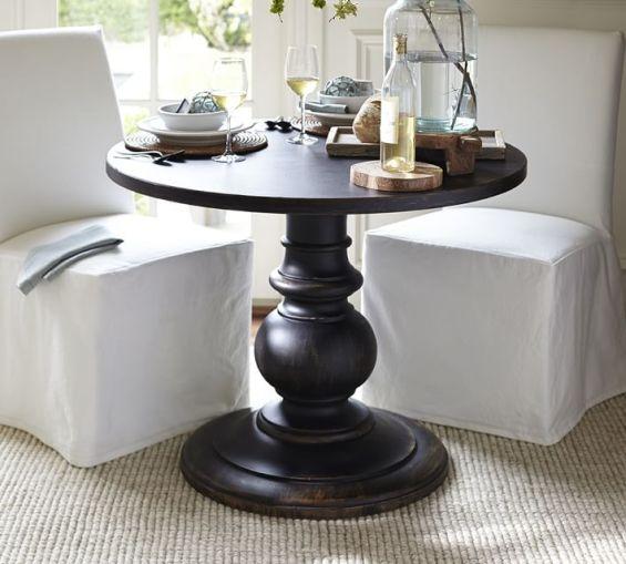 Pottery Barn DAWSON LARGE PEDESTAL TABLE in Black