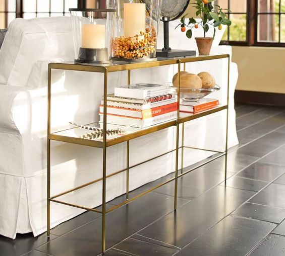 Pottery Barn LEONA CONSOLE TABLE in Gold