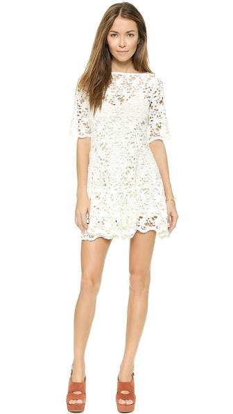 Nightcap Clothing Daisy Crochet Fit & Flare Dress in White
