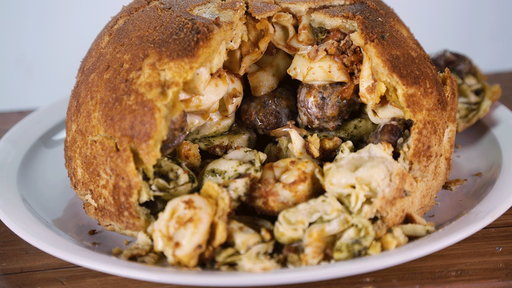"Learn how to make the delicious and very cheesy tortellini and meatball timpano that chef Mario Batali and chef Michael Symon made on ""The Chew"" on Wednesday, May 13th with instructional videos from the show."