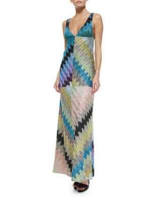 Missoni Deep V-Neck Bias Zigzag Gown in Blue Multi