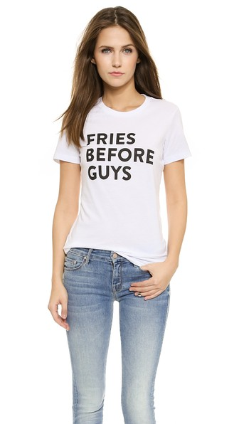 Barber Fries Before Guys Tee in White