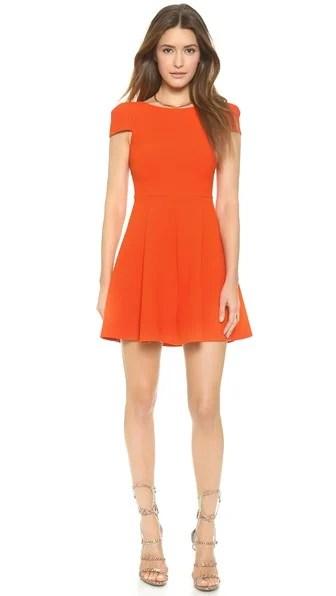 4.collective Matelasse Cap Sleeve Flirty Dress in Spicy Orange. Shopbop