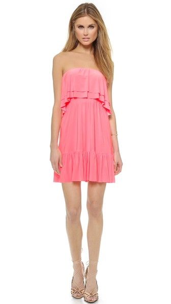 Tbags Los Angeles Ruffle Strapless Dress in Neon Pink. Shopbop