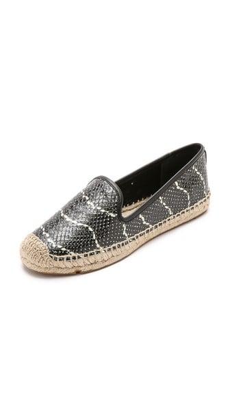 Tory Burch Snake Print Loafer Cut Espadrilles in Black:White:Black. Shopbop