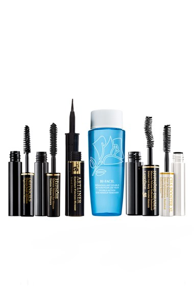 Lancome 'MASCARA WARDROBE' SET ($94 VALUE). Retails for $39.50 Mini Bifacial Double-Action Eye Makeup Remover (1.7 oz.): a double-phase, fresh-as-water liquid eye makeup remover. - Mini Hypnôse Drama Instant Full Body Mascara in Excessive Black (0.13 oz.): an ultra volume-boosting mascara that'll take lashes from so-so to show stopping. - Mini Définicils High Definition Mascara in Black (0.07 oz.): an iconic, award-winning mascara that provides the ultimate separation. - Mini Cils Booster XL Super Enhancing Mascara Base (0.07 oz.): a mascara base that sweeps on easily, evenly coating and smoothing your lashes to maximize the results of your favorite mascara. - Mini Hypnôse Custom Volume Mascara (0.07 oz.): a mascara that turns up the volume of your lashes so they're six times more hypnotizing than before. - Full-size Artliner Precision Point Eyeliner in Noir