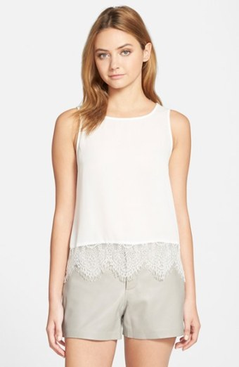 cupcakes and cashmere 'Sierra' Lace Trim Tank in Ivory