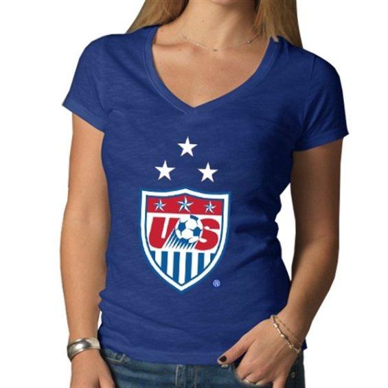 '47 Brand US Soccer Women's Royal 3-Star Crest Scrum V-Neck T-Shirt