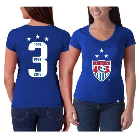 '47 Brand US Soccer Women's Royal 3-Year Crest (1991, 1999, 2015) MVP Flanker V-Neck T-Shirt