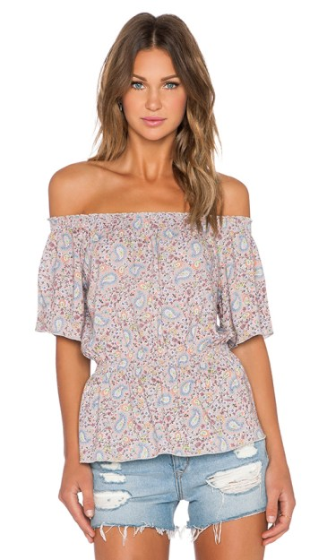 OFF THE SHOULDER PEASANT TOP By C&C CALIFORNIA in Simply Taupe