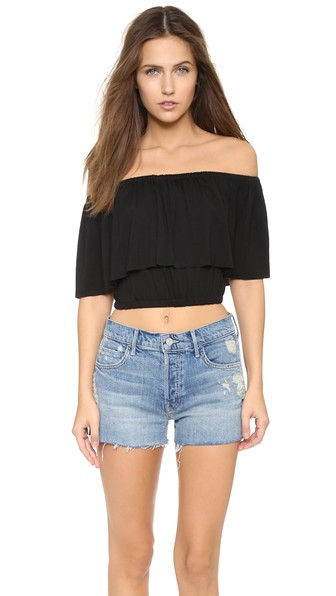 CLAYTON Molly Draped Off The Shoulder Crop Top in Black