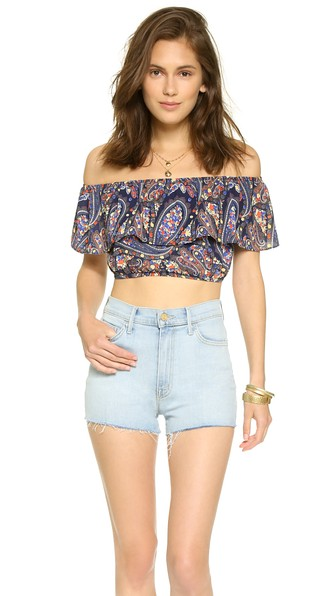 Glamorous Ruffle Paisley Print Crop Top in Red and Navy
