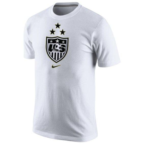 Nike US Women's Soccer Team White 2015 World Champions 3-Star Crest Dri-Blend T-Shirt