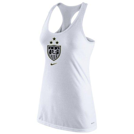 Nike US Women's Soccer Team Women's White 2015 World Champions 3-Star Crest Dri-Blend Tank