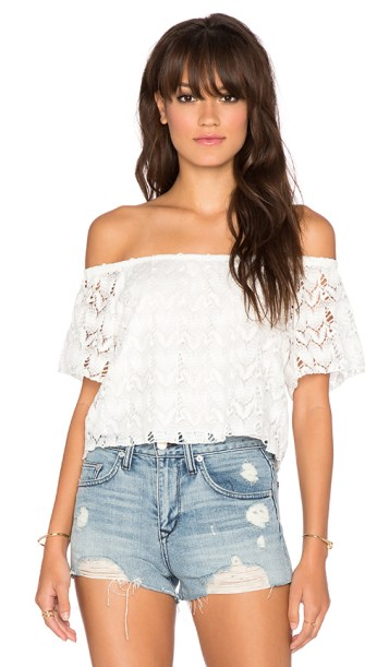 CROCHET OFF SHOULDER TOP By SURF GYPSY in White