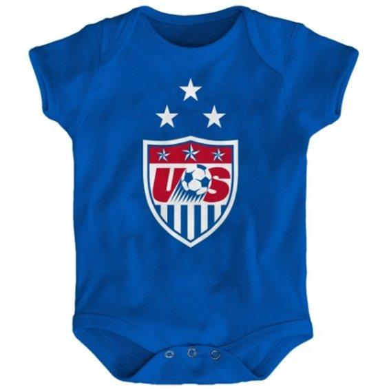 US Soccer Newborn Royal 3-Star Crest Bodysuit