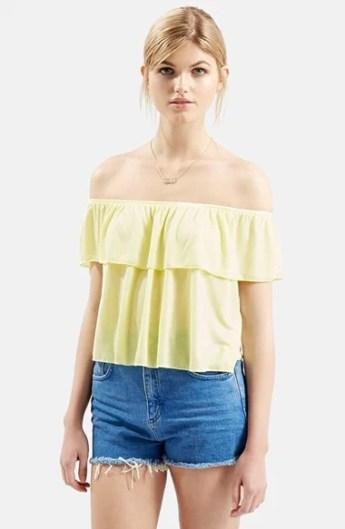 Topshop Off the Shoulder Top in Yellow