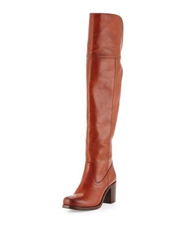 Frye Kendall Chunky-Heel Over-the-Knee Boot in Cognac