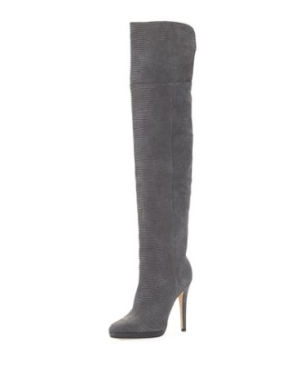 Jimmy Choo Giselle Over-the-Knee Leather Boot in Mist