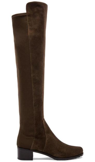 RESERVE STRETCH SUEDE BOOT By STUART WEITZMAN in Olive