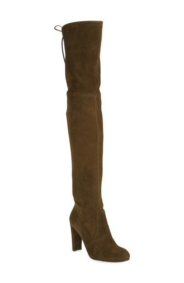 Stuart Weitzman 'Highland' Over the Knee Boot in Olive Suede (Black Suede, Praline Suede, Scarlet Suede, Topo Suede)